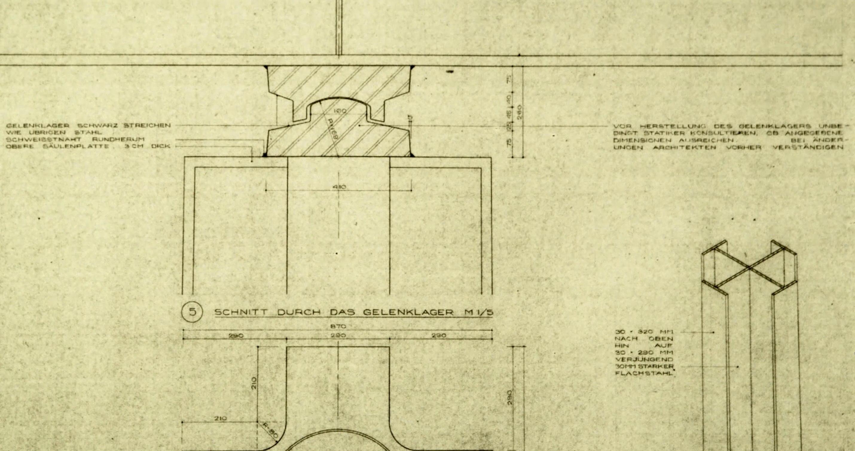 Ausschnitt aus dem Bauplan die neuen Nationalgalerie - Regie Ina Weisse - Kamera Judith Kaufmann